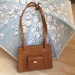 Vintage caramel Susan Bennis Italian leather bag